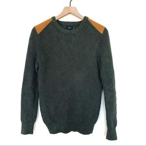 JCrew Green Shoulder Patch Sweater